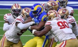 Nov 29, 2020; Inglewood, California, USA; Los Angeles Rams running back Malcom Brown is gang tackled by San Francisco 49ers defenders during the second quarter at SoFi Stadium. Mandatory Credit: Robert Hanashiro-USA TODAY Sports