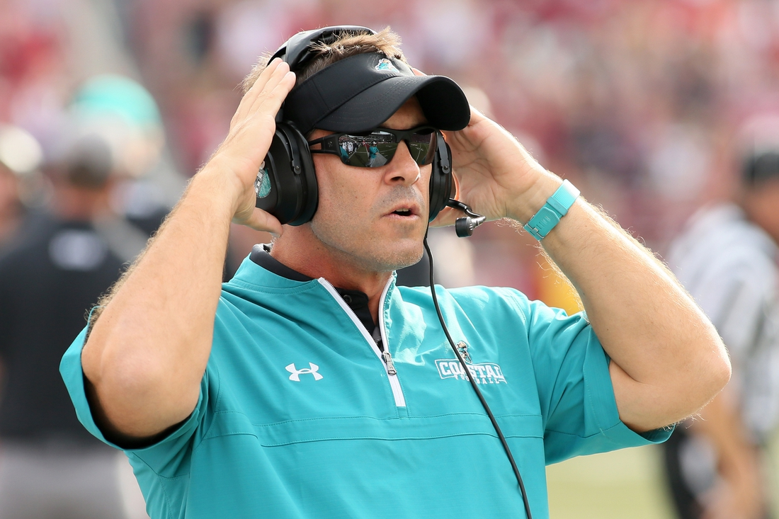 Coastal Carolina Chanticleers head coach Jamey Chadwell could be nearing a contract extension. Mandatory Credit: Nelson Chenault-USA TODAY Sports