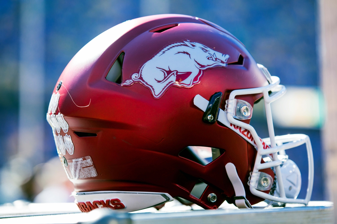 Nov 11, 2017; Baton Rouge, LA, USA; Arkansas Razorbacks helmet during a timeout against LSU Tigers in the first quarter at Tiger Stadium. Mandatory Credit: Stephen Lew-USA TODAY Sports