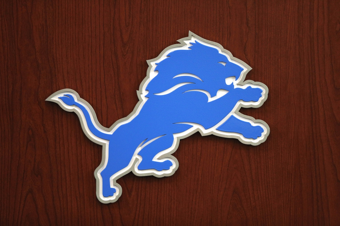 Jun 5, 2018; Allen Park, MI, USA; Detroit Lions logo on the front of a podium before practice at the Lions Headquarters and Training Facility. Mandatory Credit: Raj Mehta-USA TODAY Sports