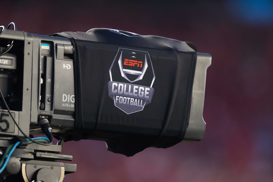 Aug 31, 2018; Madison, WI, USA; ESPN College Football logo on a tv camera prior to the game between the Western Kentucky Hilltoppers and Wisconsin Badgers at Camp Randall Stadium. Mandatory Credit: Jeff Hanisch-USA TODAY Sports