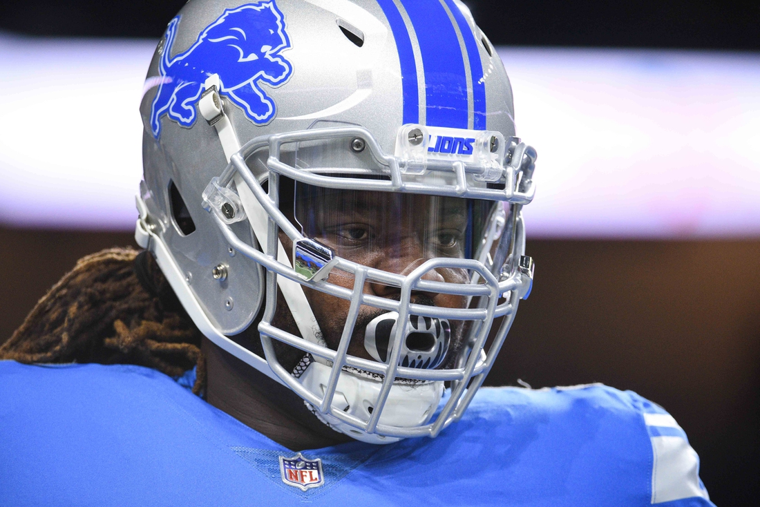 Oct 28, 2018; Detroit, MI, USA; Detroit Lions defensive tackle Damon Harrison (98) looks on before a game against the Seattle Seahawks at Ford Field. Mandatory Credit: Tim Fuller-USA TODAY Sports