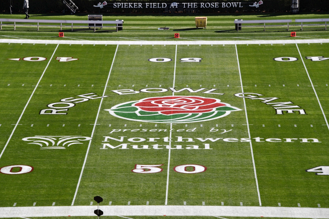 Jan 1, 2019; Pasadena, CA, USA; A general view of the Rose Bowl logo at midfield prior to the 2019 Rose Bowl between the Washington Huskies and the Ohio State Buckeyes at the Rose Bowl Stadium. Mandatory Credit: Kirby Lee-USA TODAY Sports