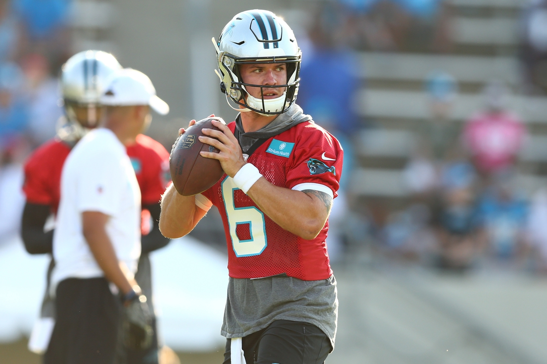 Jul 25, 2019; Spartanburg, SC, USA; Carolina Panthers quarterback Taylor Heinicke (6) looks to pass during training camp held at Wofford College. Mandatory Credit: Jeremy Brevard-USA TODAY Sports