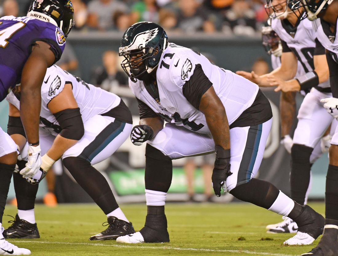 Aug 22, 2019; Philadelphia, PA, USA; Philadelphia Eagles offensive tackle Jason Peters (71) against the Baltimore Ravens at Lincoln Financial Field. Mandatory Credit: Eric Hartline-USA TODAY Sports