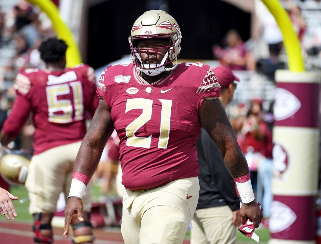 Aug 31, 2019; Tallahassee, FL, USA; Florida State Seminoles defensive tackle Marvin Wilson (21) before the start of the game against the Boise State Broncos at Doak Campbell Stadium. Mandatory Credit: Melina Myers-USA TODAY Sports