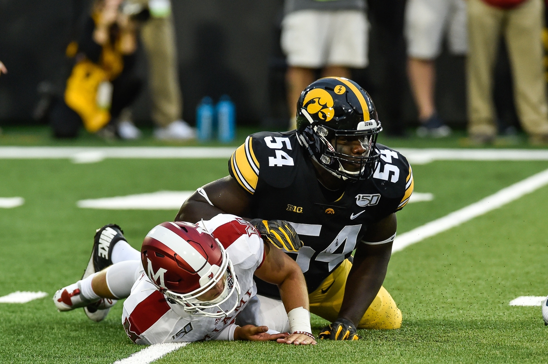 Aug 31, 2019; Iowa City, IA, USA; Iowa Hawkeyes defensive tackle Daviyon Nixon (54) in action during the game against the Miami (Oh) Redhawks at Kinnick Stadium. Mandatory Credit: Jeffrey Becker-USA TODAY Sports