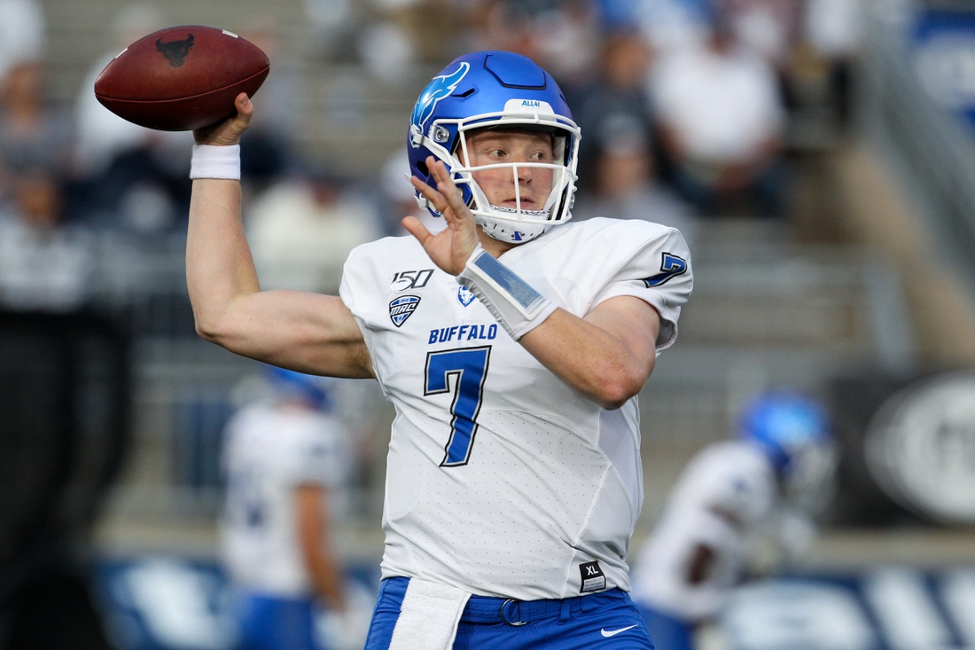 Sep 7, 2019; University Park, PA, USA; Buffalo Bulls quarterback Kyle Vantrease (7) throws a pass during a warm up practice prior to the game against the Penn State Nittany Lions at Beaver Stadium. Penn State defeated Buffalo 45-13. Mandatory Credit: Matthew O'Haren-USA TODAY Sports
