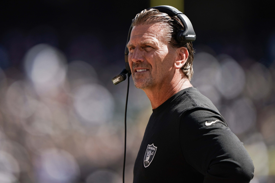 Sep 15, 2019; Oakland, CA, USA; Oakland Raiders offensive coordinator Greg Olson watches the game against the Kansas City Chiefs during the first quarter at the Oakland Coliseum. Mandatory Credit: Stan Szeto-USA TODAY Sports
