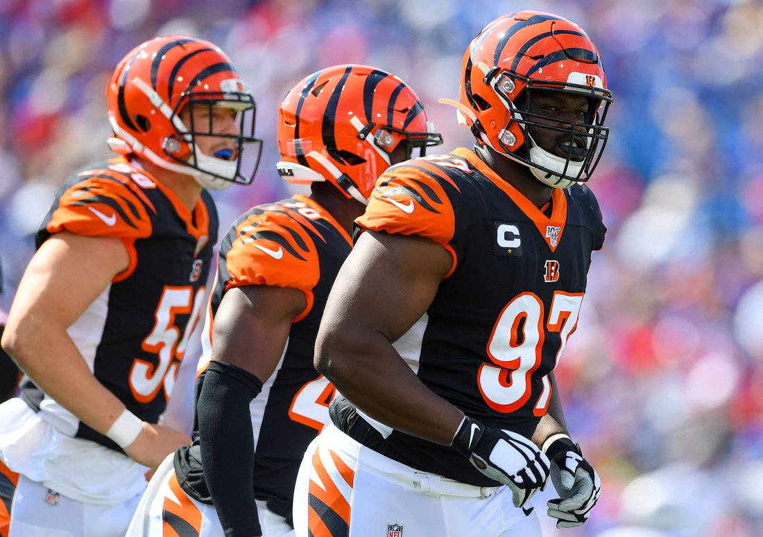Sep 22, 2019; Orchard Park, NY, USA; Cincinnati Bengals defensive tackle Geno Atkins (97) jogs off the field following his sack of Buffalo Bills quarterback Josh Allen (not pictured) during the first quarter at New Era Field. Mandatory Credit: Rich Barnes-USA TODAY Sports