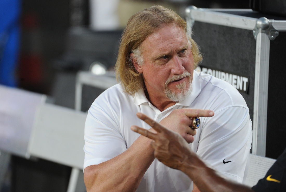 Sep 30, 2019; Pittsburgh, PA, USA; Former Pittsburgh Steelers player Kevin Greene sits on the bench before a game against the Cincinnati Bengals at Heinz Field. Mandatory Credit: Philip G. Pavely-USA TODAY Sports