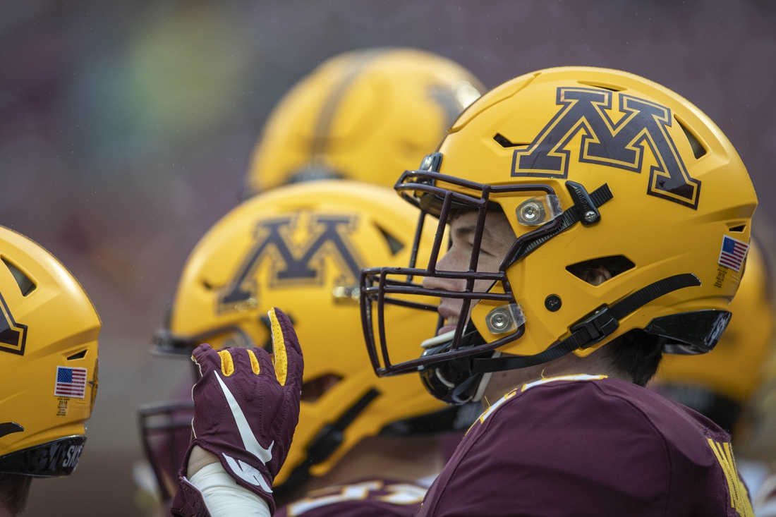 Oct 5, 2019; Minneapolis, MN, USA; A general view of a Minnesota Golden Gophers helmet during warm ups before a game against the Illinois Fighting Illini at TCF Bank Stadium. Mandatory Credit: Jesse Johnson-USA TODAY Sports