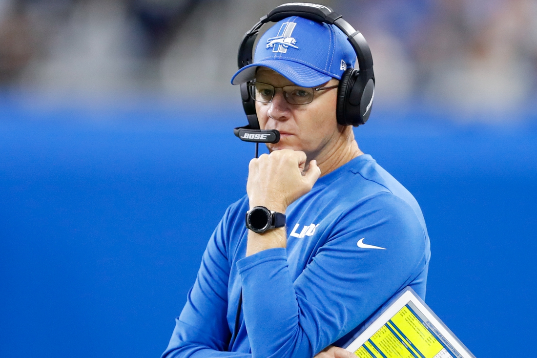Sep 29, 2019; Detroit, MI, USA; Detroit Lions offensive coordinator Darrell Bevell looks on during the first quarter against the Kansas City Chiefs at Ford Field. Mandatory Credit: Raj Mehta-USA TODAY Sports