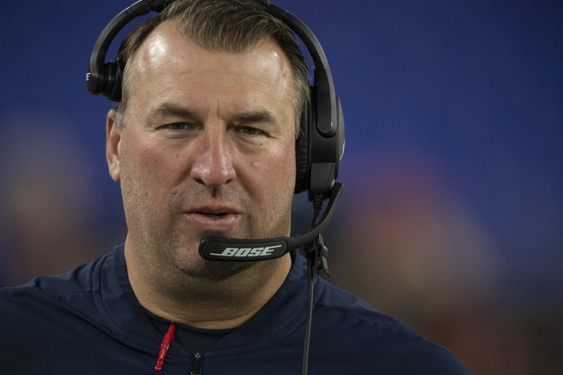 Nov 3, 2019; Baltimore, MD, USA; New England Patriots defensive line coach Bret Bielema  stands win the sidelines before the game against the Baltimore Ravens at M&T Bank Stadium. Mandatory Credit: Tommy Gilligan-USA TODAY Sports