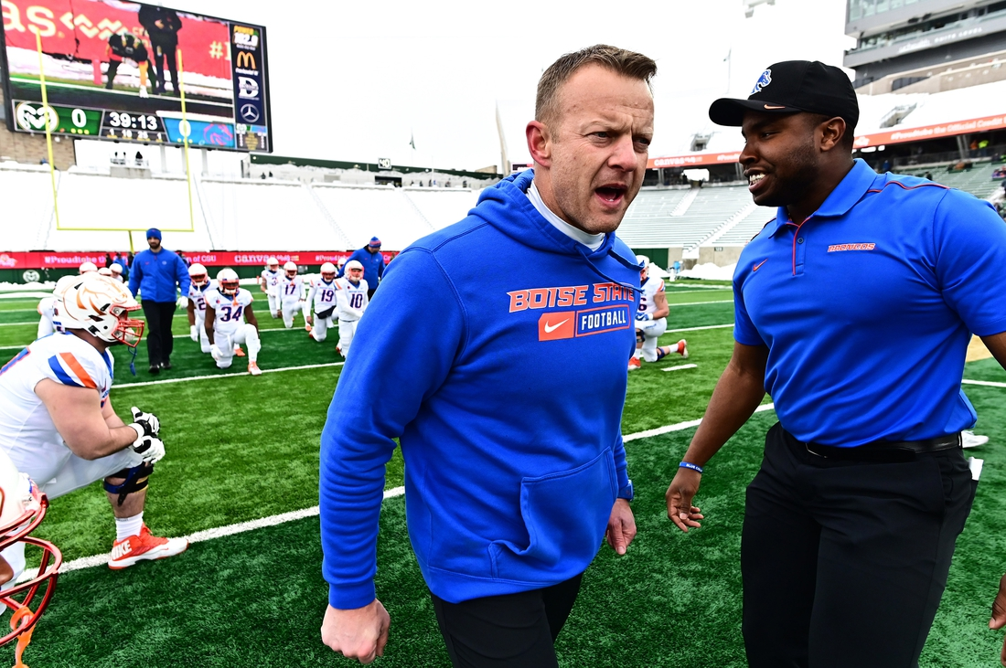 Nov 29, 2019; Fort Collins, CO, USA; Boise State Broncos head coach Bryan Harsin before the game against the Colorado State Rams at Sonny Lubick Field at Canvas Stadium. Mandatory Credit: Ron Chenoy-USA TODAY Sports