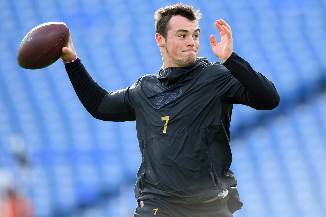 Dec 8, 2019; Orchard Park, NY, USA; Baltimore Ravens quarterback Trace McSorley (7) warms up prior to the game against the Buffalo Bills at New Era Field. Mandatory Credit: Rich Barnes-USA TODAY Sports