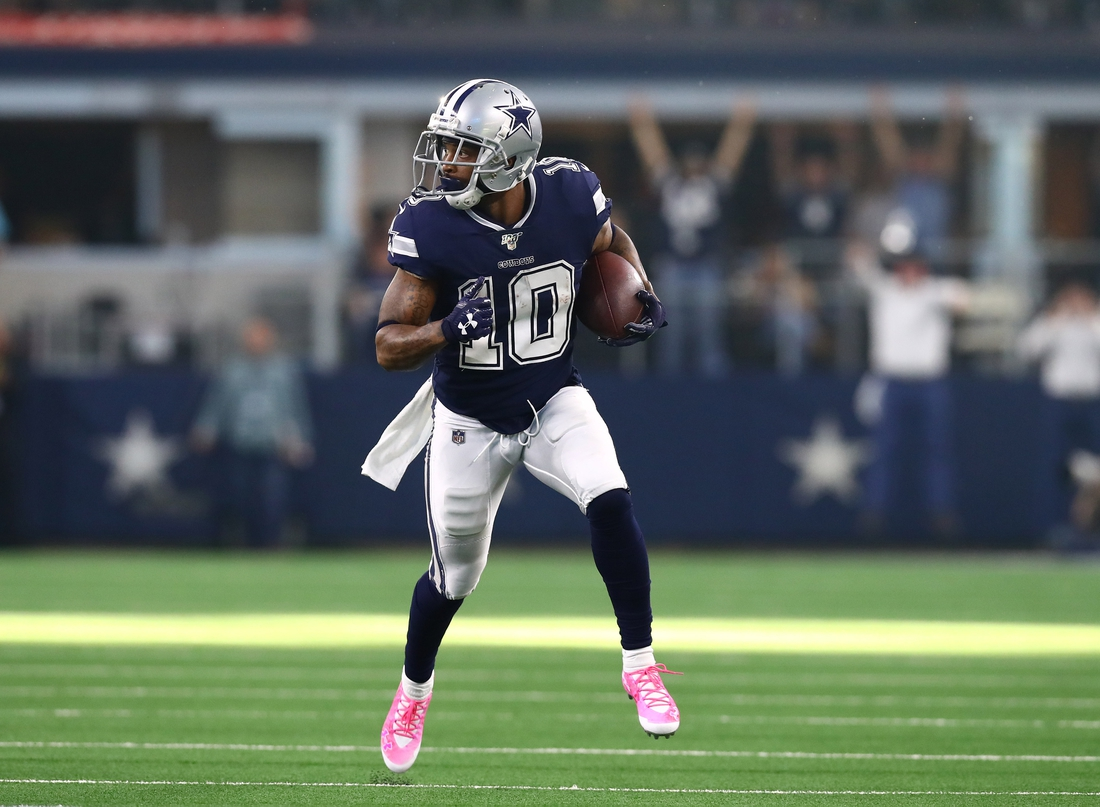 Dec 15, 2019; Arlington, TX, USA; Dallas Cowboys receiver Tavon Austin (10) runs after a reception for a touchdown in the second quarter against the Los Angeles Rams at AT&T Stadium. Mandatory Credit: Matthew Emmons-USA TODAY Sports