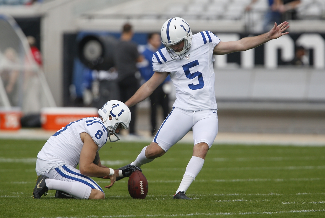 Dec 29, 2019; Jacksonville, Florida, USA; Indianapolis Colts place kicker Chase McLaughlin (5) kicks the ball as punter Rigoberto Sanchez (8)  holds during warmups before the game against the Jacksonville Jaguars at TIAA Bank Field. Mandatory Credit: Reinhold Matay-USA TODAY Sports