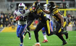 Dec 15, 2019; Pittsburgh, PA, USA; Buffalo Bills running back Devin Singletary (26) against Pittsburgh Steelers safety Terrell Edmunds (34) during the fourth quarter at Heinz Field. The Steelers lost 17-10. Mandatory Credit: Philip G. Pavely-USA TODAY Sports