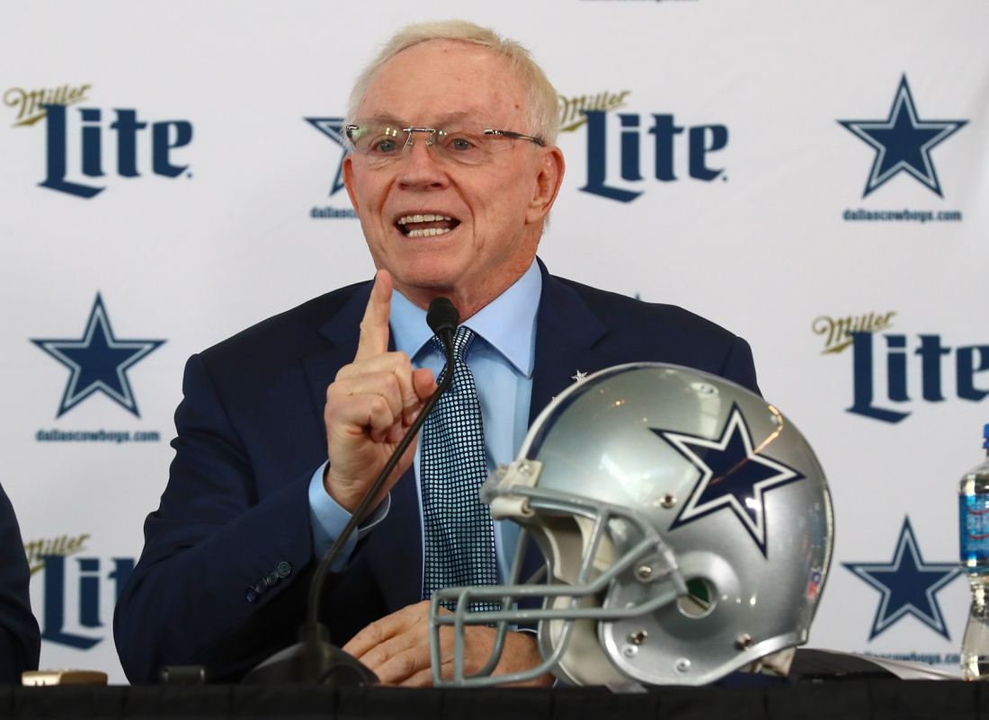 Jan 8, 2020; Frisco, Texas, USA; Dallas Cowboys owner Jerry Jones answers questions during a press conference at Ford Center at the Star. Mandatory Credit: Matthew Emmons-USA TODAY Sports