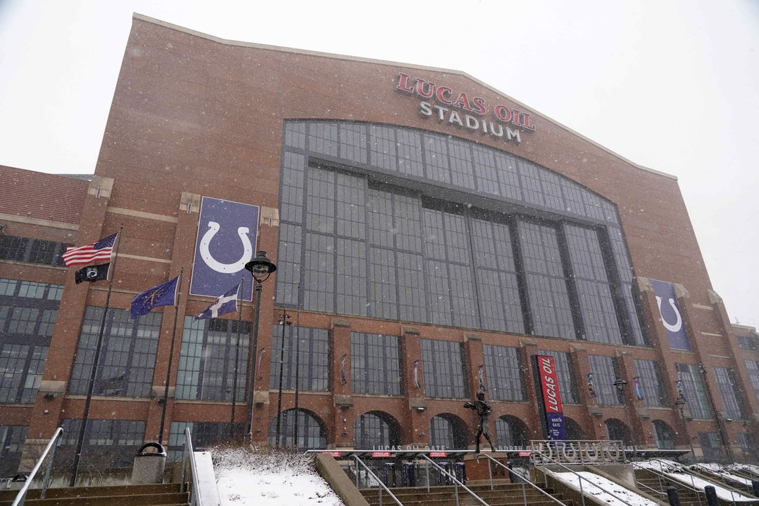 Feb 26, 2020; Indianapolis, Indiana, USA;  General overall view of snow outside of Lucas Oil Stadium. Mandatory Credit: Kirby Lee-USA TODAY Sports