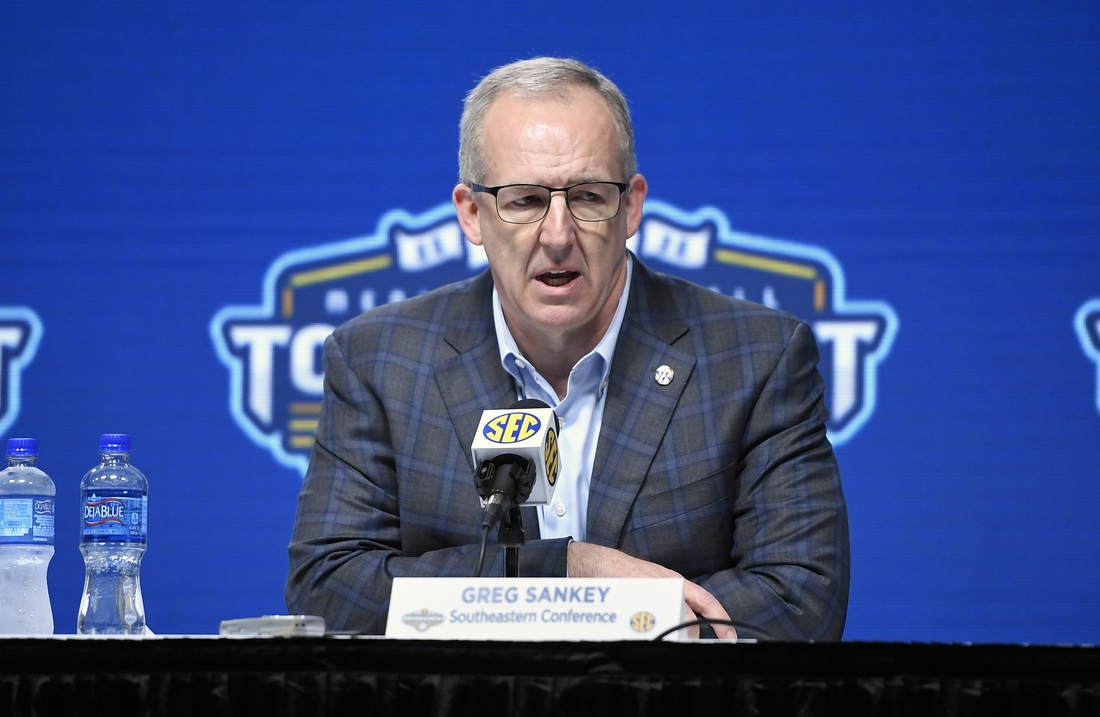 Mar 12, 2020; Nashville, Tennessee, USA;  Southeastern Conference commissioner Greg Sankey speaks on the cancelation of the SEC tournament at Bridgestone Arena. Mandatory Credit: Steve Roberts-USA TODAY Sports