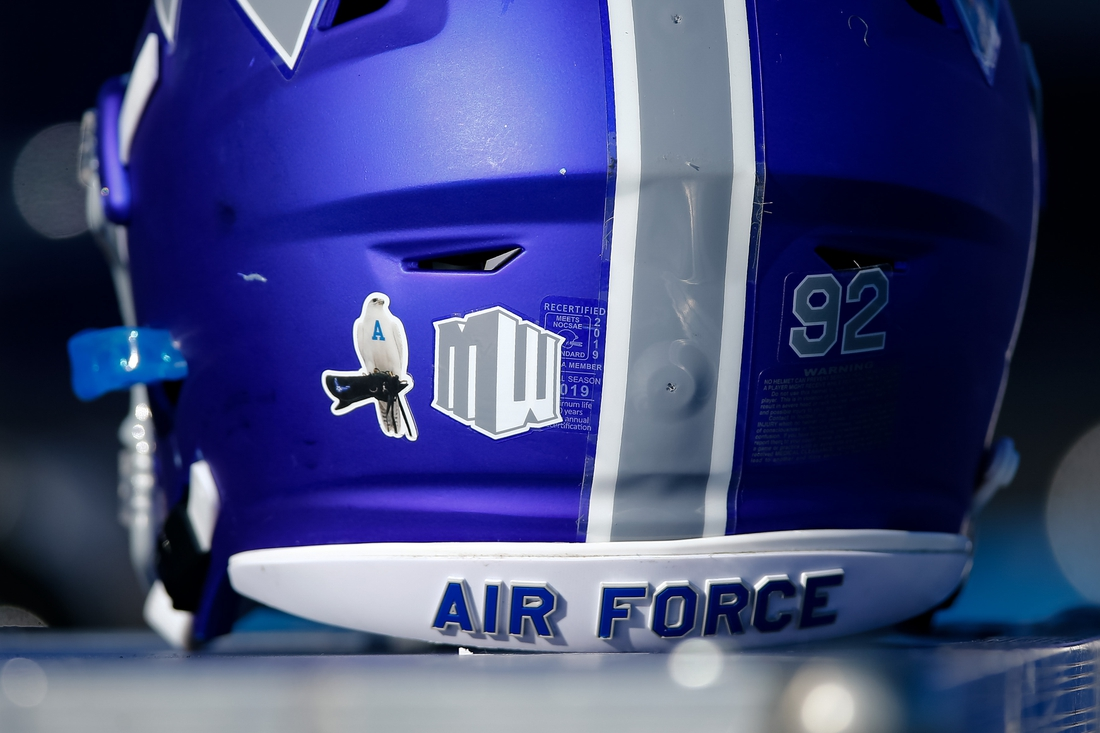 Nov 30, 2019; Colorado Springs, CO, USA; A sticker on the back of an Air Force Falcons helmet pays tribute to Aurora the falcon who was the longest-serving live mascot in the history of the Air Force Academy. Mandatory Credit: Isaiah J. Downing-USA TODAY Sports