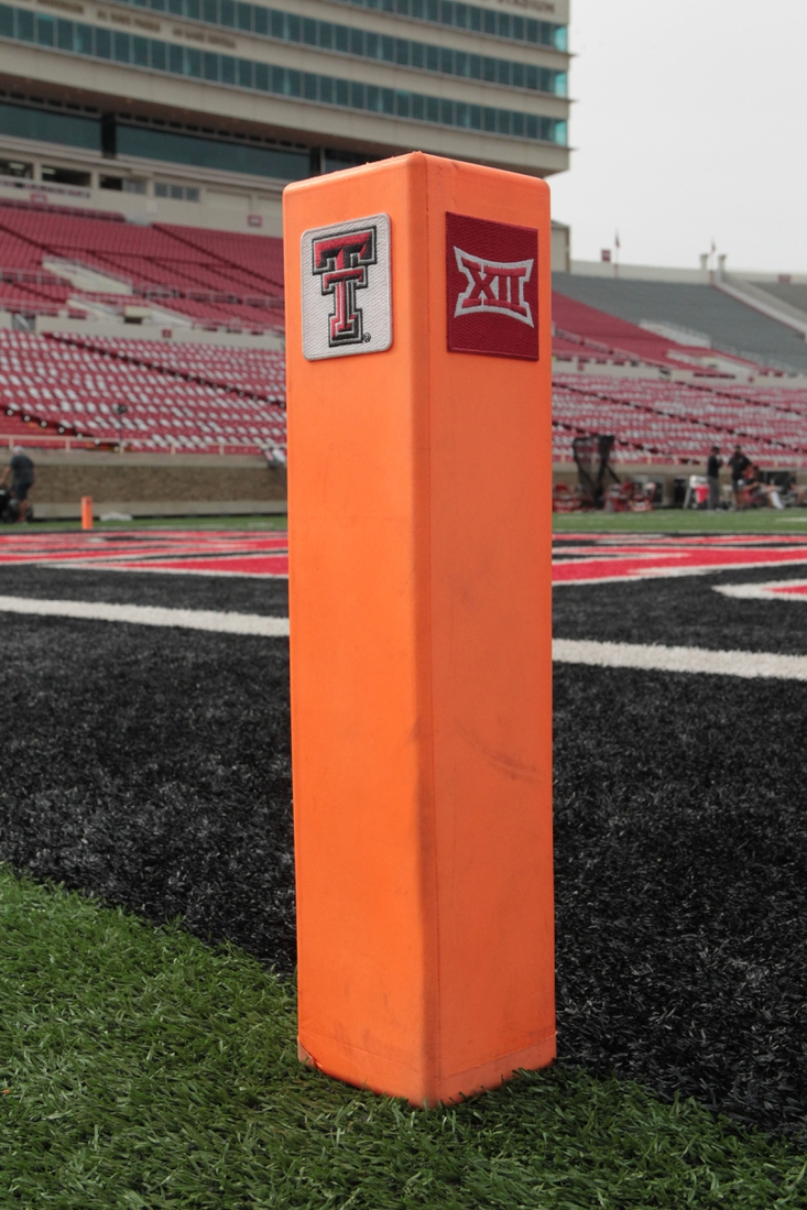Sep 12, 2020; Lubbock, Texas, USA;  A Big 12/Texas Tech pylon in the end zone before the game between the Texas Tech Red Raiders and the Houston Baptist Huskies at Jones AT&T Stadium. Mandatory Credit: Michael C. Johnson-USA TODAY Sports