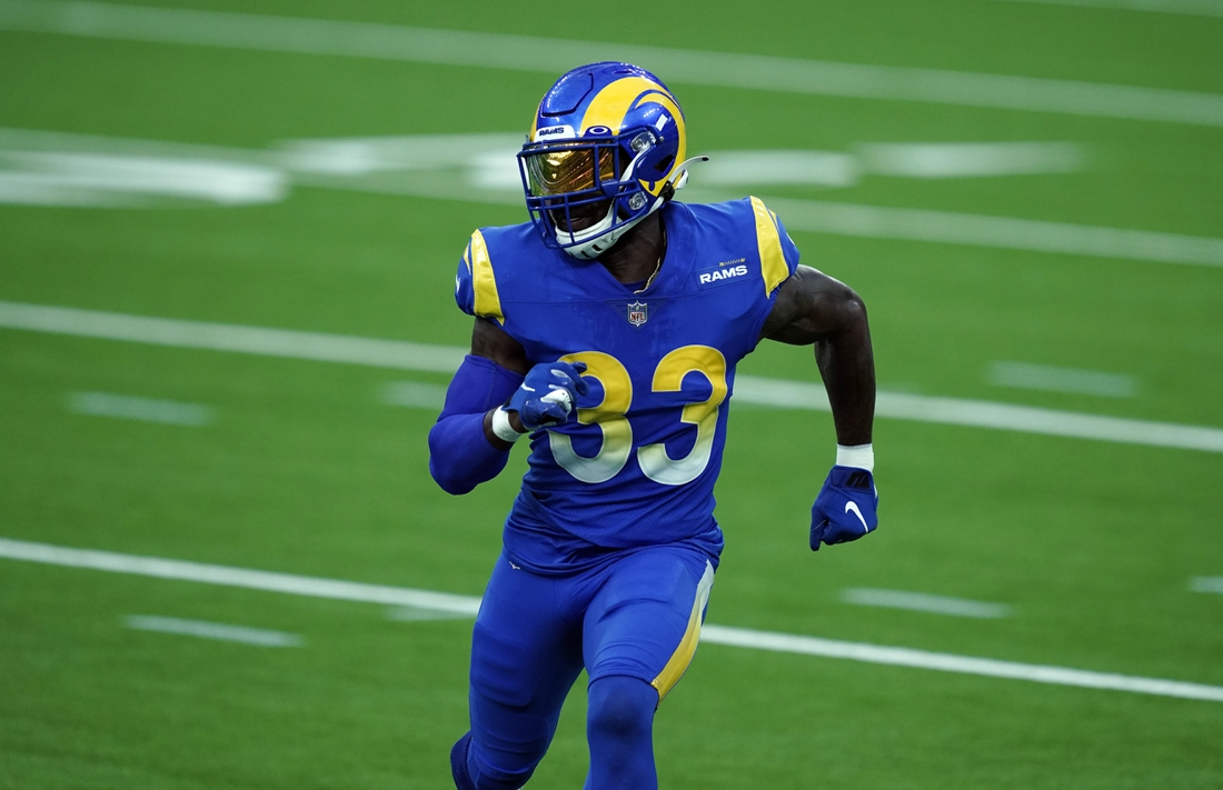 Aug 22, 2020; Inglewood California, USA; Los Angeles Rams safety Nick Scott (33) during a scrimmage at SoFi Stadium. Mandatory Credit: Kirby Lee-USA TODAY Sports
