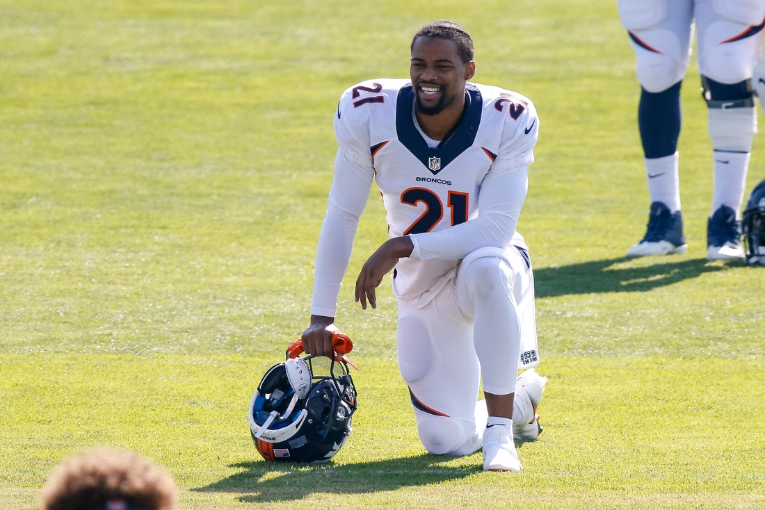 Aug 17, 2020; Englewood, Colorado, USA; Denver Broncos cornerback A.J. Bouye (21) during training camp at the UCHealth Training Center. Mandatory Credit: Isaiah J. Downing-USA TODAY Sports