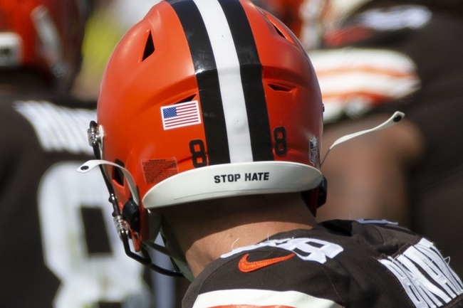 Sep 13, 2020; Baltimore, Maryland, USA;  Stop hate message on Cleveland Browns tight end Harrison Bryant (88) helmet against the Baltimore Ravens during the fourth quarter at M&T Bank Stadium. Mandatory Credit: Leah Stauffer-USA TODAY Sports