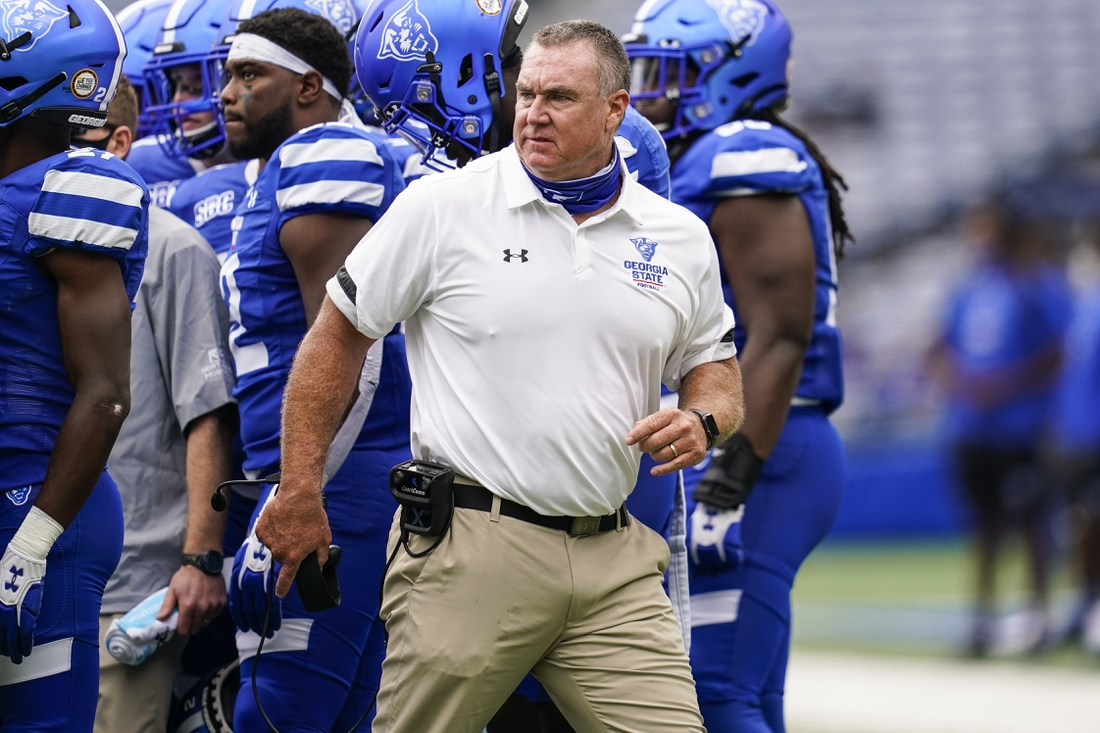 Sep 19, 2020; Atlanta, Georgia, USA; Georgia State Panthers head coach Shawn Elliott reacts on the sidelines against the Louisiana-Lafayette Ragin Cajuns during the first half at Center parc Stadium. Mandatory Credit: Dale Zanine-USA TODAY Sports