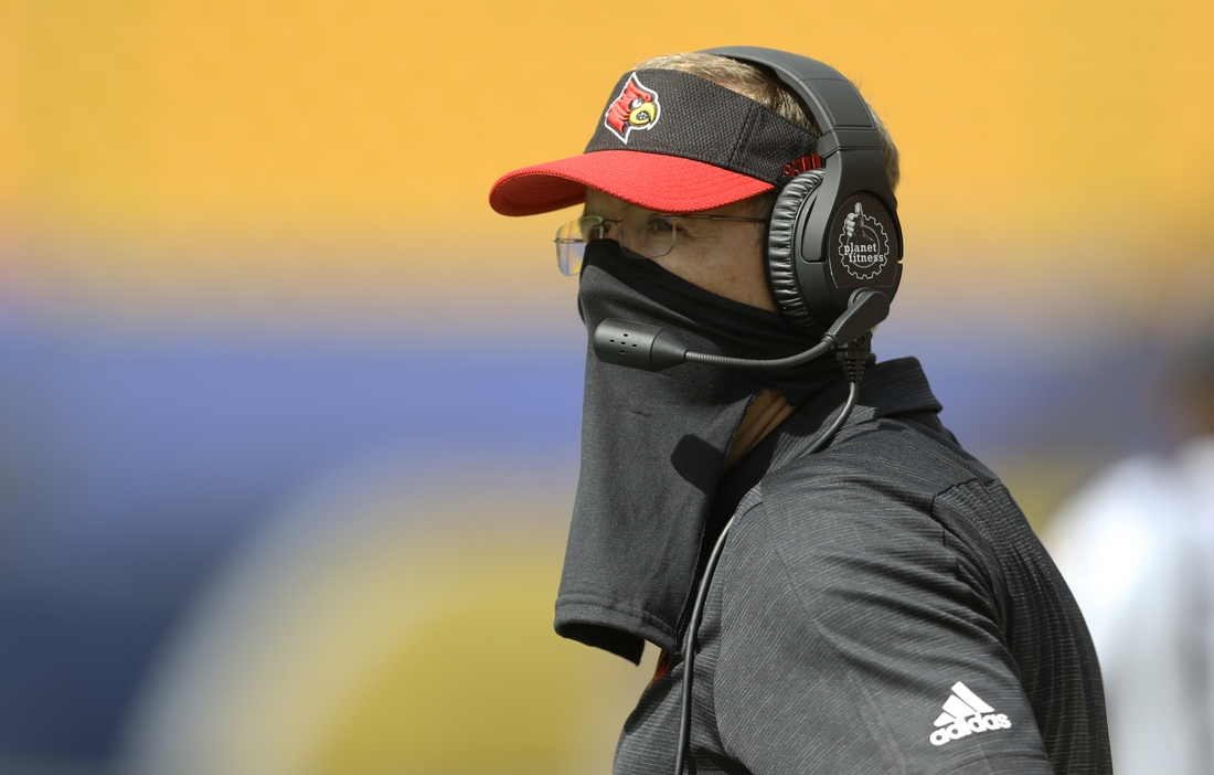 Sep 26, 2020; Pittsburgh, Pennsylvania, USA;  Louisville Cardinals head coach Scott Satterfield looks on from the sidelines against the Pittsburgh Panthers during the second quarter at Heinz Field. Pittsburgh won 23-20. Mandatory Credit: Charles LeClaire-USA TODAY Sports