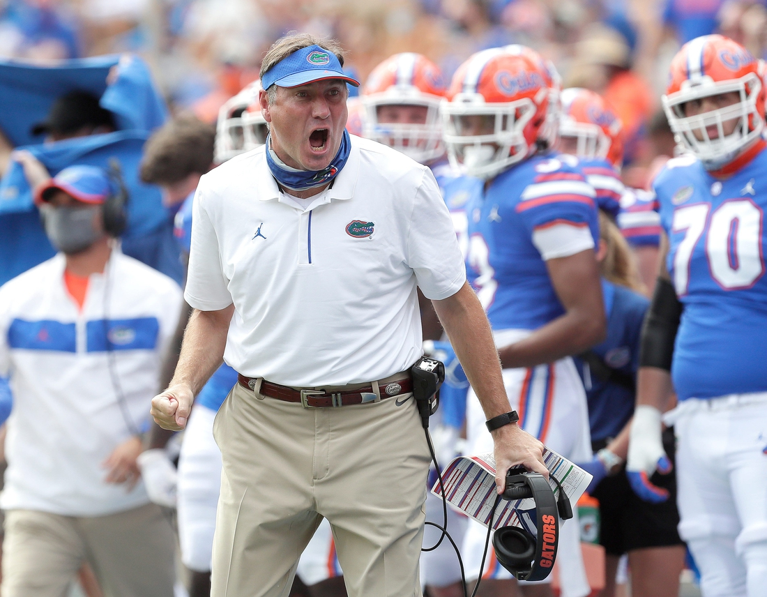 Oct 3, 2020; Gainesville, FL, USA; Florida Gators head coach Dan Mullen reacts during a game against South Carolina at Ben Hill Griffin Stadium, in Gainesville, Fla. Oct. 3, 2020. Mandatory Credit: Brad McClenny-USA TODAY NETWORK
