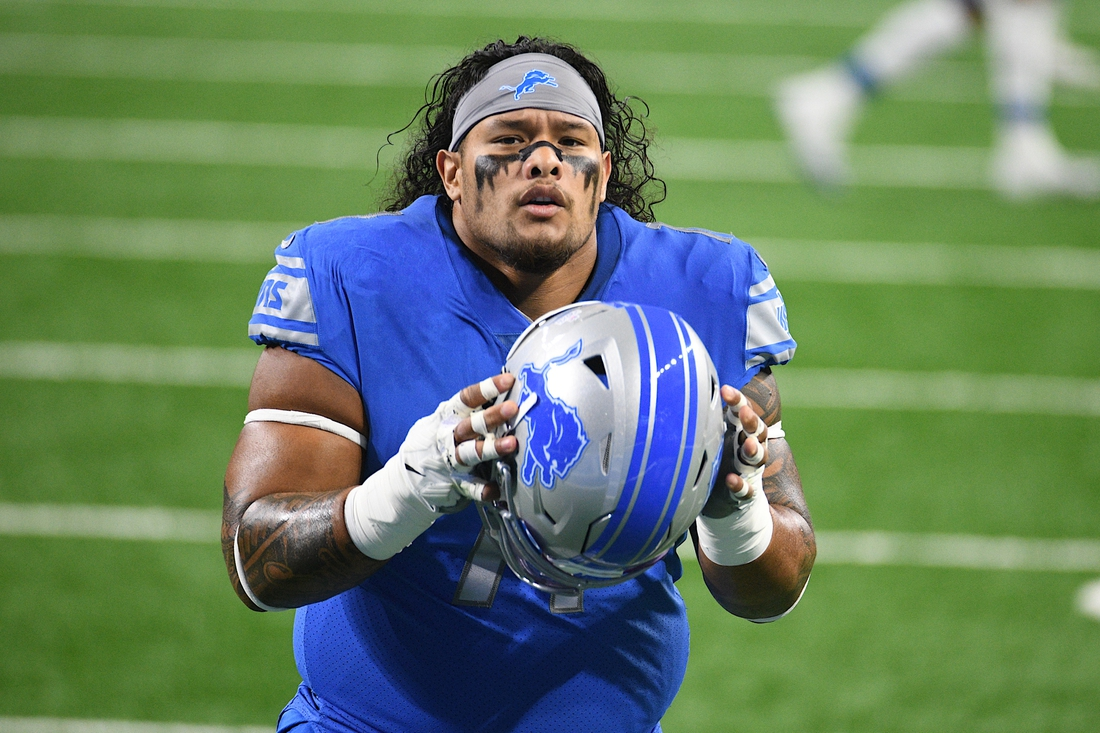 Oct 4, 2020; Detroit, Michigan, USA; Detroit Lions nose tackle Danny Shelton (71) warms up before a game against the New Orleans Saints at Ford Field. Mandatory Credit: Tim Fuller-USA TODAY Sports