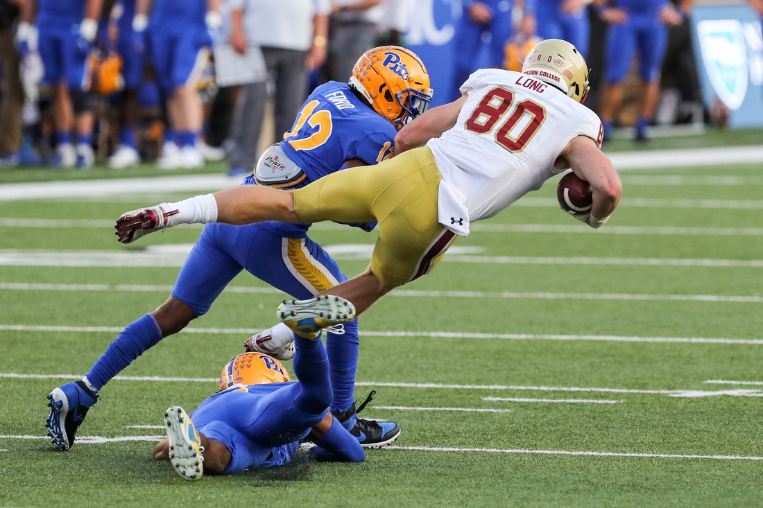 Oct 10, 2020; Chestnut Hill, Massachusetts, USA; Boston College Eagles tight end Hunter Long (80) is tacked by Pittsburgh Panthers cornerback Paris Ford (12) during the first half at Alumni Stadium. Mandatory Credit: Paul Rutherford-USA TODAY Sports
