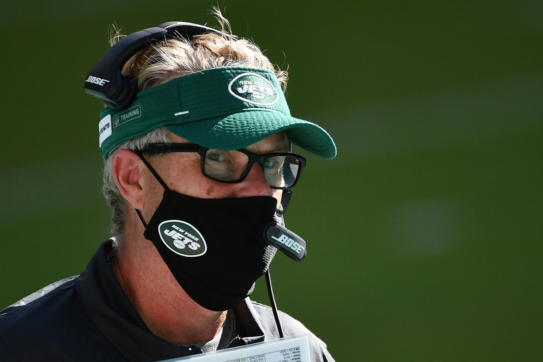 Oct 18, 2020; Miami Gardens, Florida, USA; New York Jets defensive coordinator Gregg Williams looks on prior to the game against the Miami Dolphins at Hard Rock Stadium. Mandatory Credit: Jasen Vinlove-USA TODAY Sports