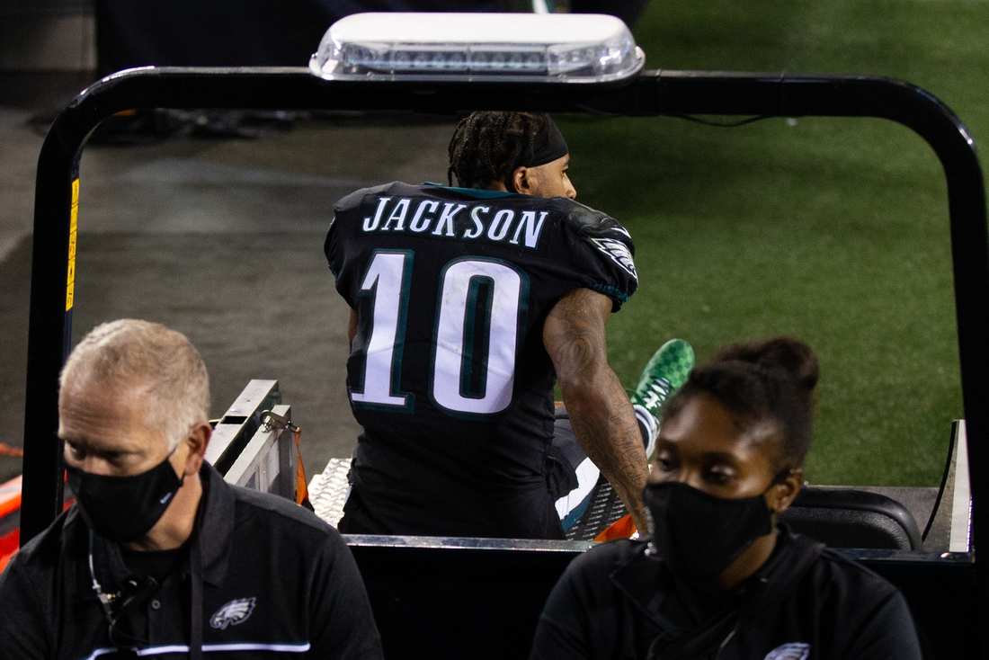 Oct 22, 2020; Philadelphia, Pennsylvania, USA; Philadelphia Eagles wide receiver DeSean Jackson (10) is carted off the field after being injured during the fourth quarter against the New York Giants at Lincoln Financial Field. Mandatory Credit: Bill Streicher-USA TODAY Sports