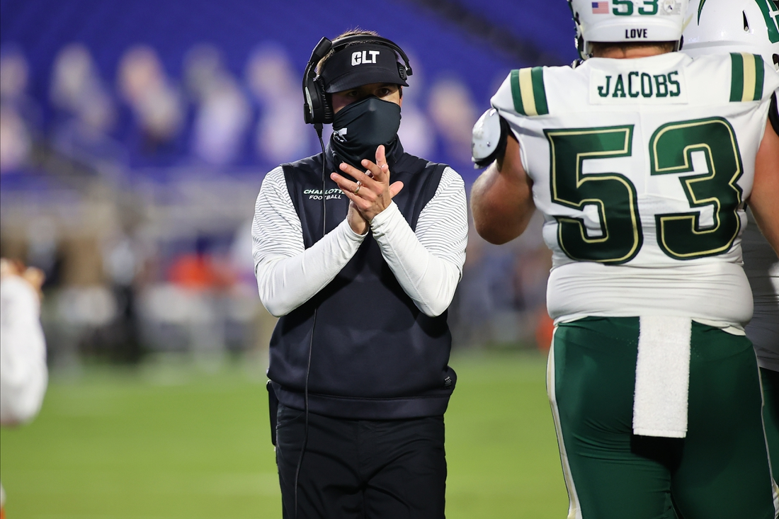 Oct 31, 2020; Durham, North Carolina, USA; Charlotte 49ers head coach Will Healy during the first quarter of the game against the Charlotte 49ers at Wallace Wade Stadium. Mandatory Credit: Jaylynn Nash-USA TODAY Sports