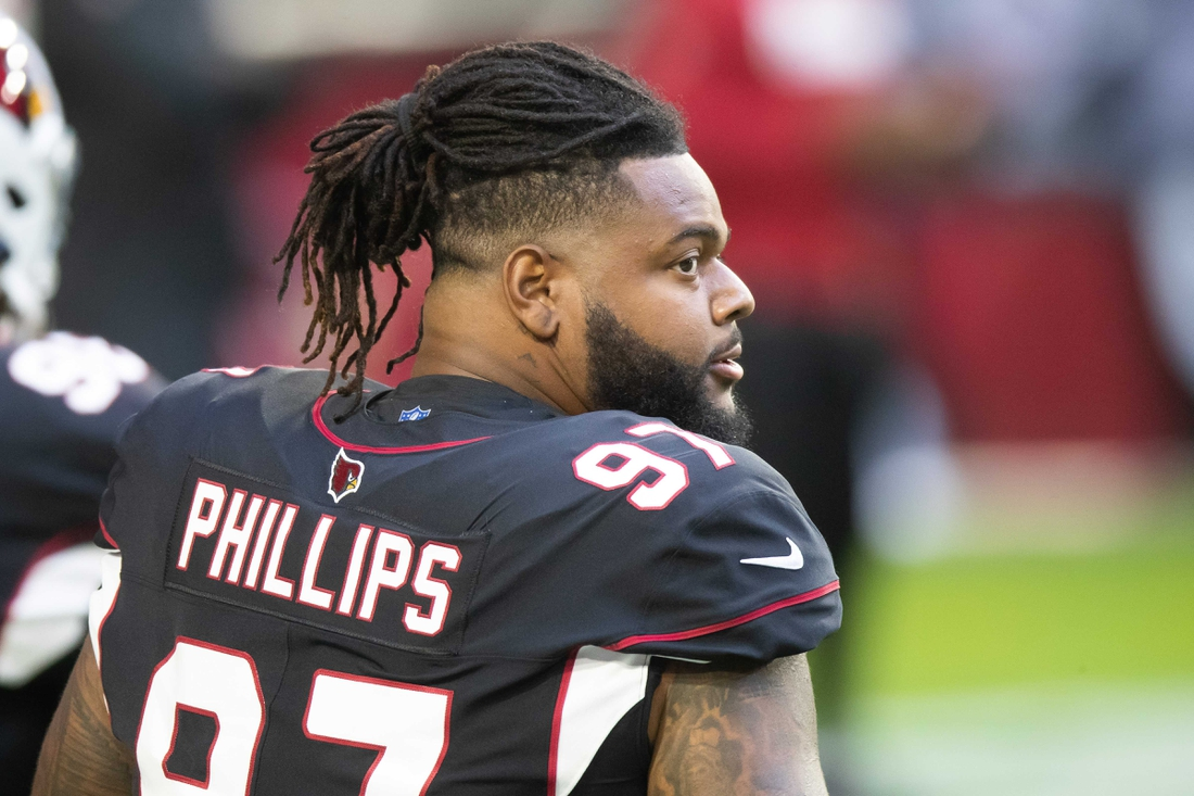 Oct 25, 2020; Glendale, Arizona, USA; Arizona Cardinals defensive end Jordan Phillips (97) prior to the game against the Seattle Seahawks at State Farm Stadium. Mandatory Credit: Billy Hardiman-USA TODAY Sports