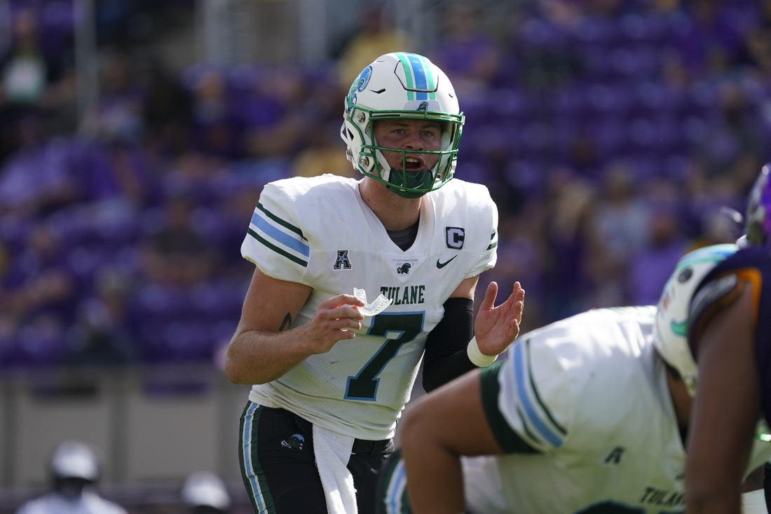 Nov 7, 2020; Greenville, North Carolina, USA;  Tulane Green Wave quarterback Michael Pratt (7) looks on before the snap of the ball against the East Carolina Pirates at Dowdy-Ficklen Stadium. Mandatory Credit: James Guillory-USA TODAY Sports
