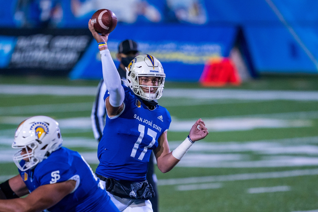 Nov 14, 2020; San Jose, California, USA;  San Jose State Spartans quarterback Nick Starkel (17) passes the football during the first quarter against the UNLV Rebels at CEFCU Stadium. Mandatory Credit: Neville E. Guard-USA TODAY Sports
