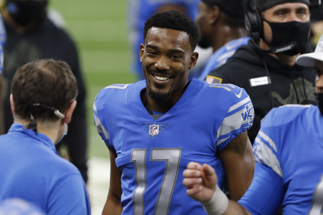 Nov 15, 2020; Detroit, Michigan, USA; Detroit Lions wide receiver Marvin Hall (17) smiles on the sidelines after making a touchdown reception against the Washington Football Team during the first quarter at Ford Field. Mandatory Credit: Raj Mehta-USA TODAY Sports