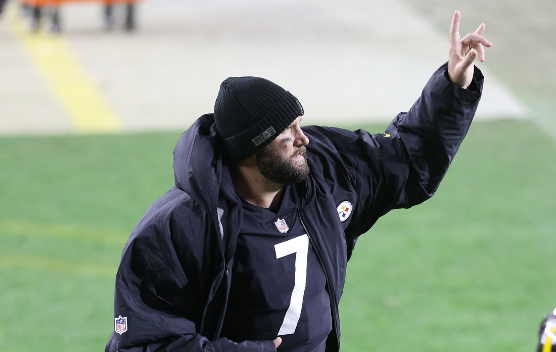 Nov 15, 2020; Pittsburgh, Pennsylvania, USA;  Pittsburgh Steelers quarterback Ben Roethlisberger (7) reacts leaving the field after defeating the Cincinnati Bengals at Heinz Field. The Steelers won 36-10. Mandatory Credit: Charles LeClaire-USA TODAY Sports