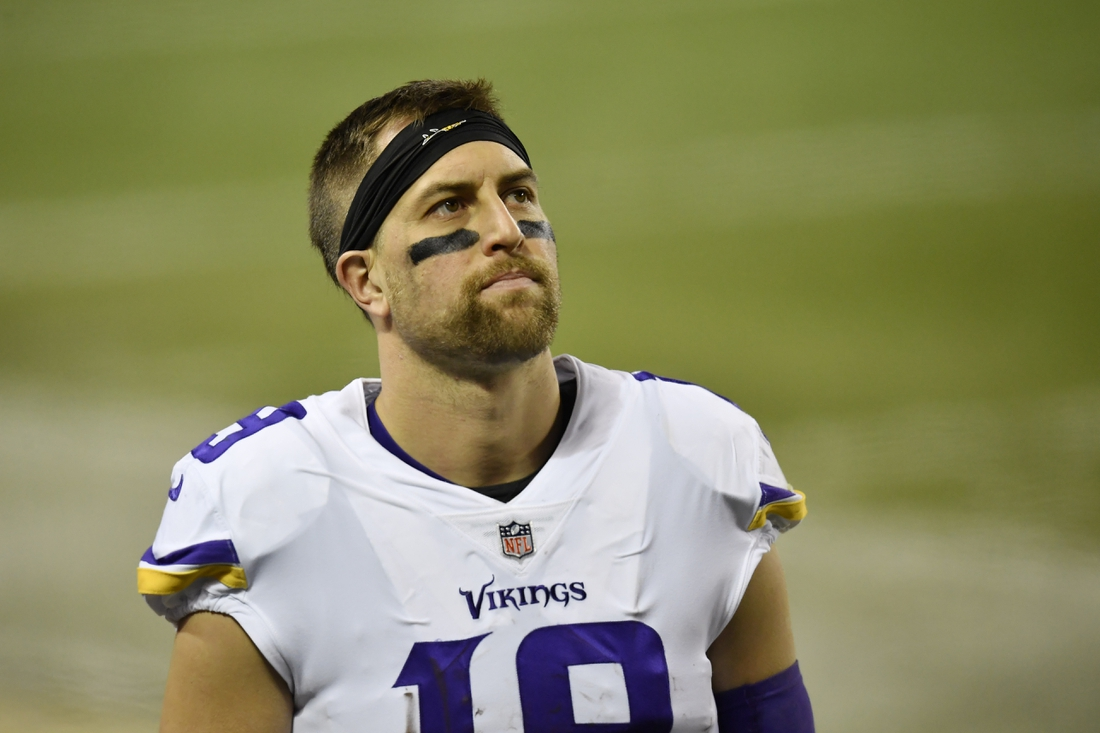 Nov 16, 2020; Chicago, Illinois, USA; Minnesota Vikings wide receiver Adam Thielen (19) looks on in the game against the Chicago Bears at Soldier Field. Mandatory Credit: Quinn Harris-USA TODAY Sports
