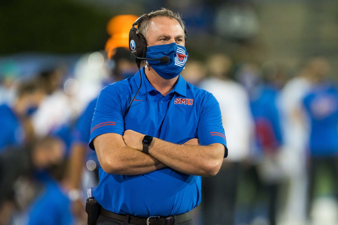 Nov 14, 2020; Tulsa, Oklahoma, USA;  Southern Methodist Mustangs head coach Sonny Dykes on the sidelines during the game against the Tulsa Golden Hurricane at Skelly Field at H.A. Chapman Stadium. Tulsa won 28-24. Mandatory Credit: Brett Rojo-USA TODAY Sports