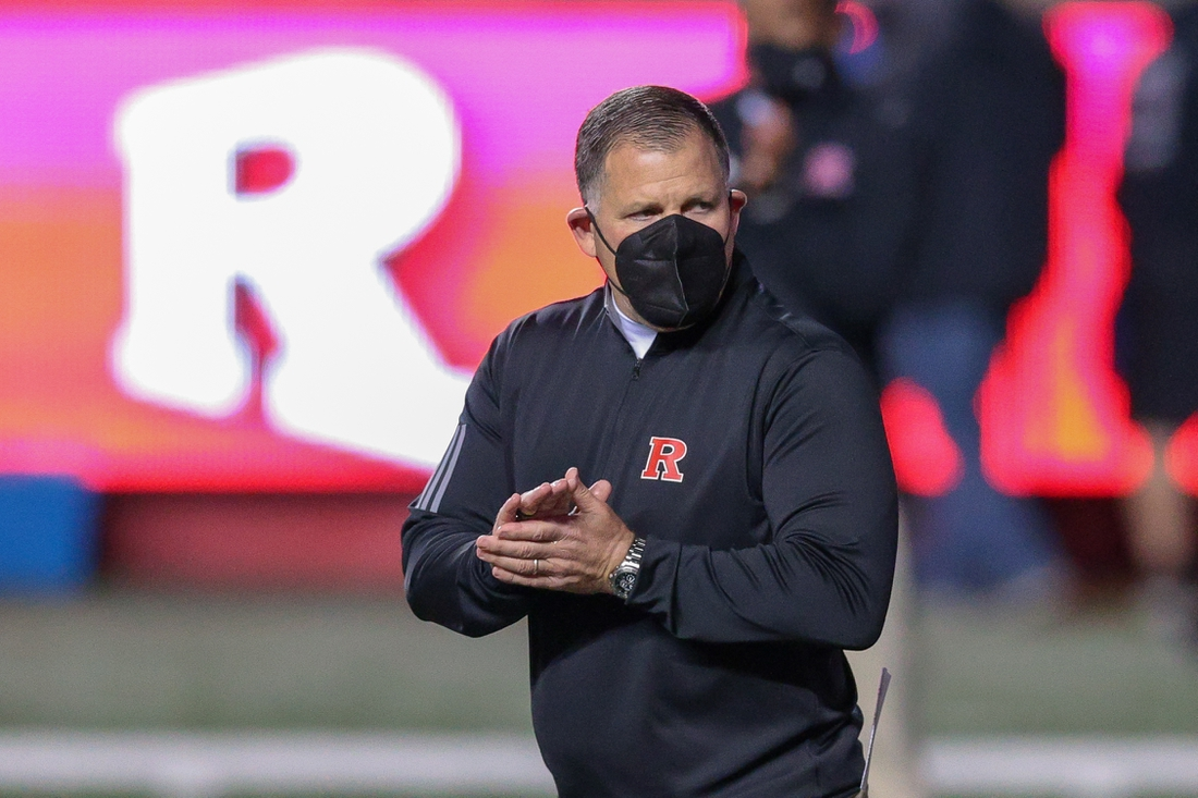 Nov 21, 2020; Piscataway, New Jersey, USA; Rutgers Scarlet Knights head coach Greg Schiano coaches before his game against the Michigan Wolverines at SHI Stadium. Mandatory Credit: Vincent Carchietta-USA TODAY Sports
