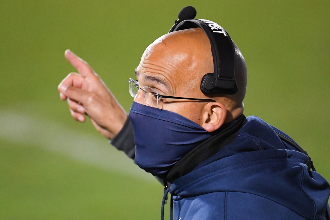 Nov 21, 2020; University Park, Pennsylvania, USA; Penn State Nittany Lions head coach James Franklin gestures to an official during the third quarter against the Iowa Hawkeyes at Beaver Stadium. Mandatory Credit: Rich Barnes-USA TODAY Sports