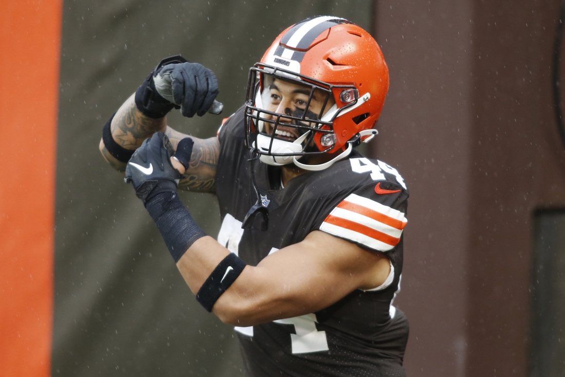 Nov 22, 2020; Cleveland, Ohio, USA; Cleveland Browns linebacker Sione Takitaki (44) is introduced before the game between the Cleveland Browns and the Philadelphia Eagles at FirstEnergy Stadium. Mandatory Credit: Scott Galvin-USA TODAY Sports