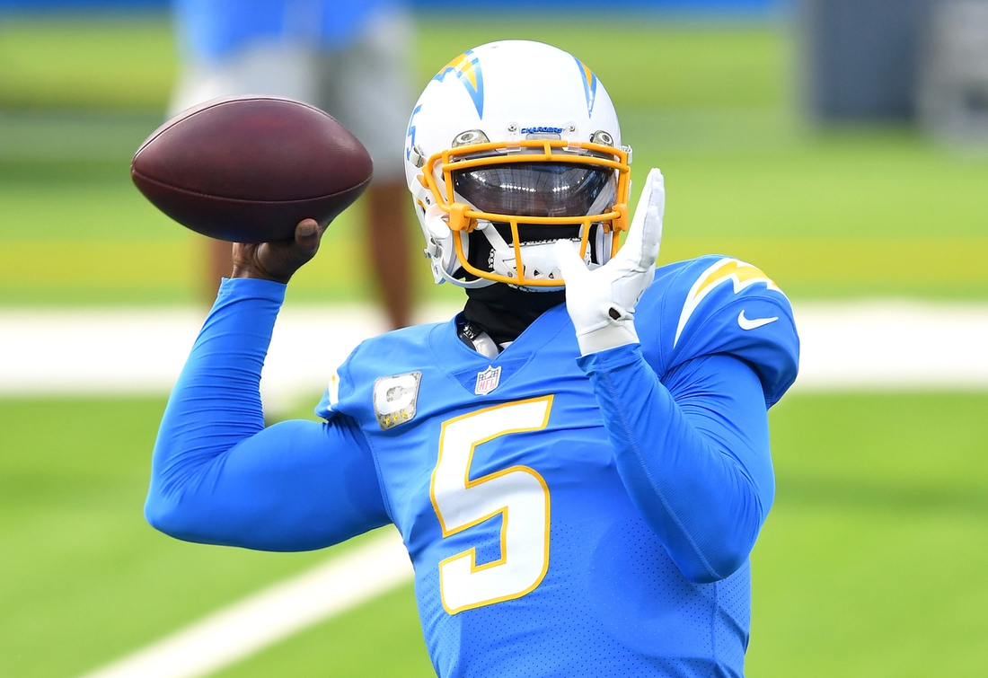 Nov 22, 2020; Inglewood, California, USA; Los Angeles Chargers quarterback Tyrod Taylor (5) warms up before a game against the New York Jets at SoFi Stadium. Mandatory Credit: Jayne Kamin-Oncea-USA TODAY Sports